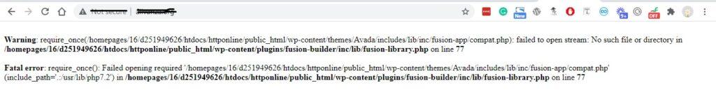 website issue after backup restore